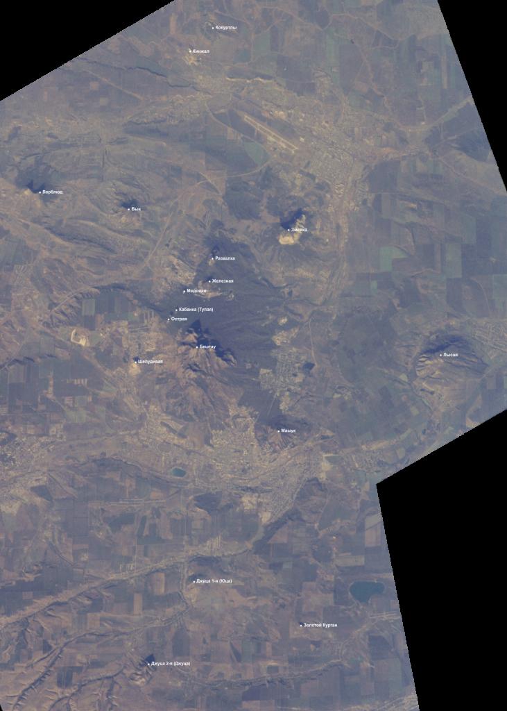 Карта гор Пятигорска, Пятигорья и Кавказских Минеральных Вод, фото со спутника. Обозначены вершины: Машук, Бештау, Лысая, Шелудивая, Острая, Кабанка (Тупая), Медовая, Железная, Развалка, Змейка,  Джуца 1-я (Юца), Джуца 2-я (Джуца), Золотой Курган, Бык, Верблюд, Кинжал и Кокуртлы.