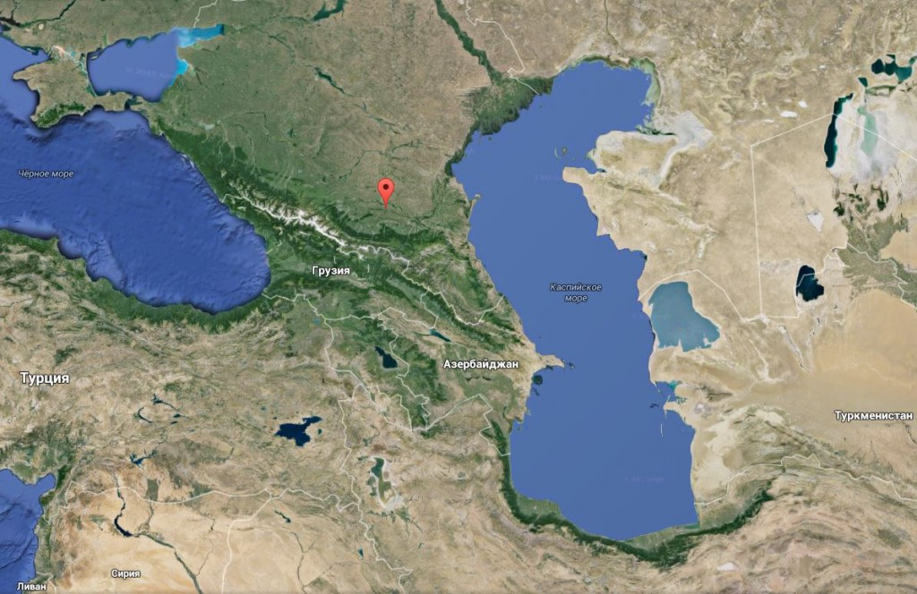 Карта юга России, Кавказского региона и части Ближнего Востока и Средней Азии. Caucasus.