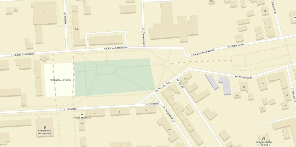 Карта района города Пятигорска, площадь Ленина, администрация Пятигорска (Белый Дом), Памятник Ленину, гостиница Интурист