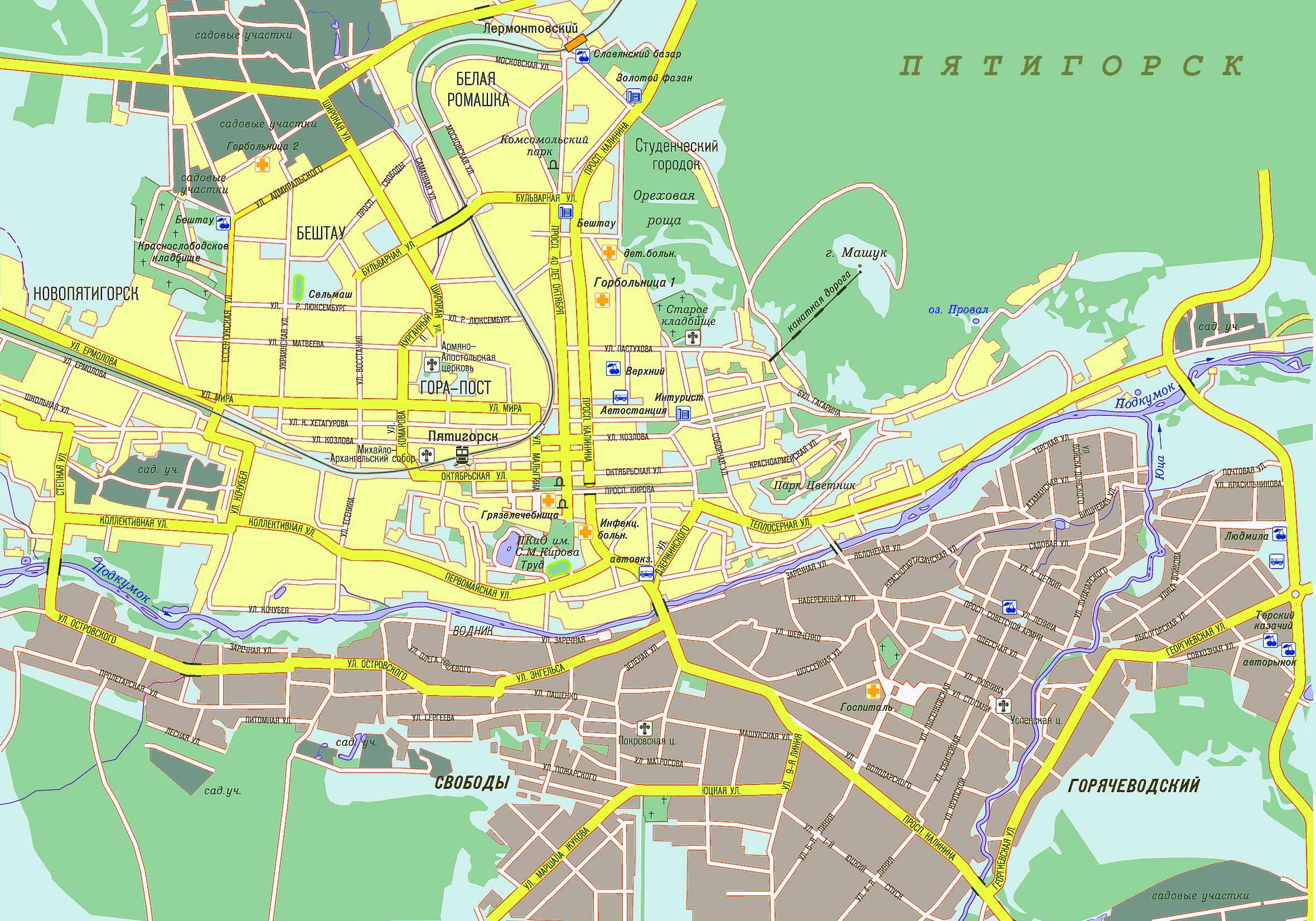 Карта города Пятигорска с улицами