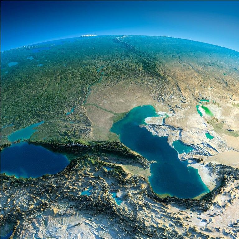 Кавказ - вид из космоса днем.