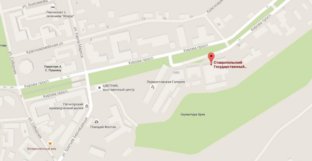 Ставропольский государственный краевой театр оперетты в городе Пятигорске, карта, где находится, адрес